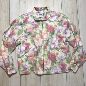 Vintage Rose Print Zip-Up Floral Jacket Retro